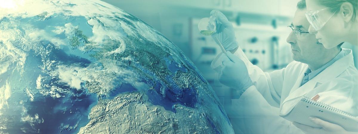 Globe with chemists